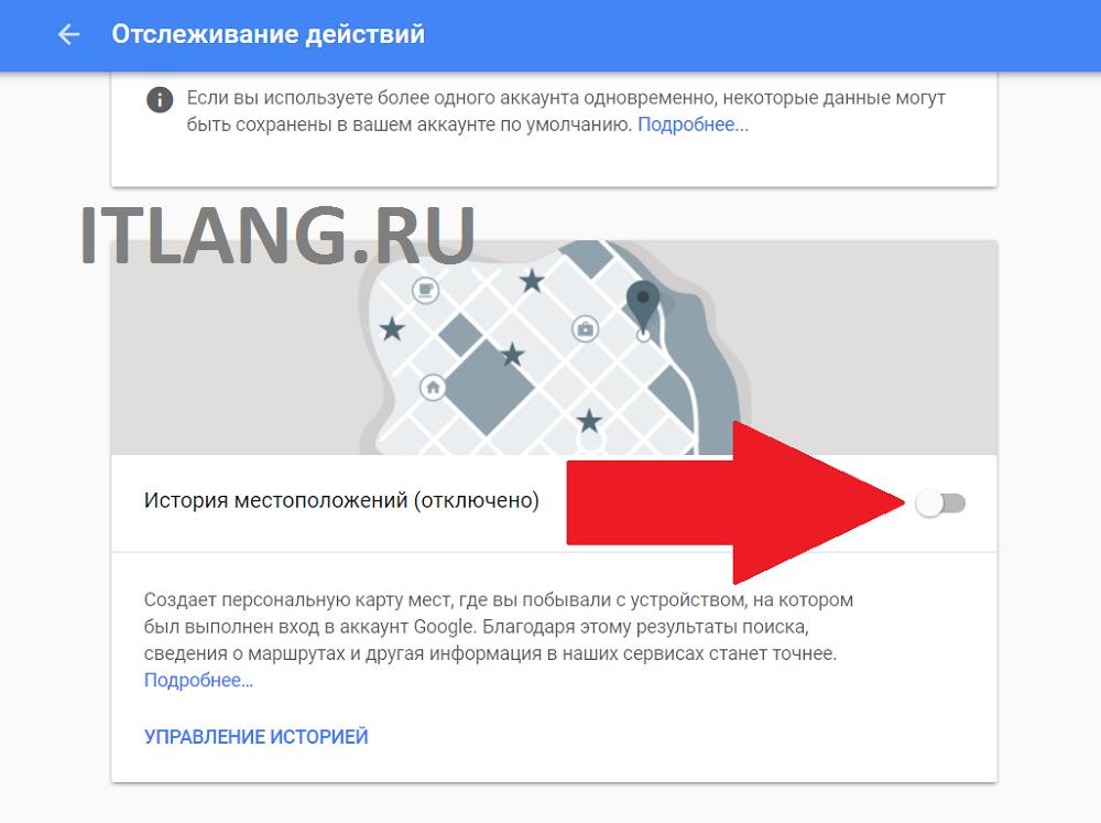 Включение хронологии Google с сайта.