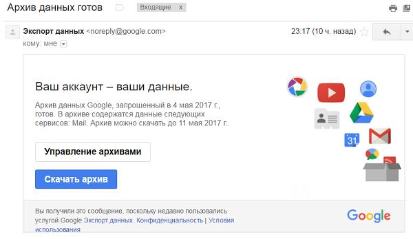 Архив Gmail готов