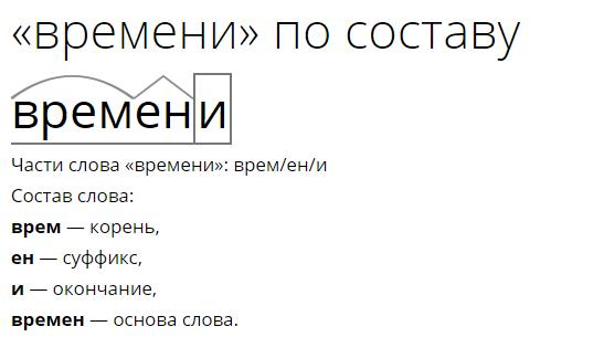 морфологический разбор слова знаком
