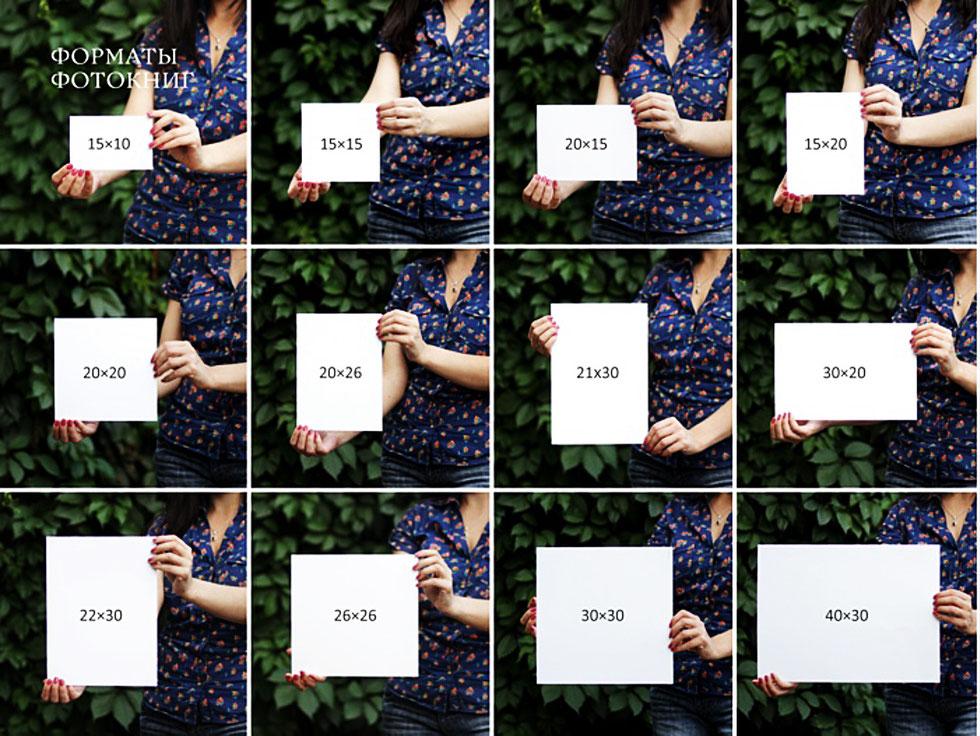 Размеры фото в руке
